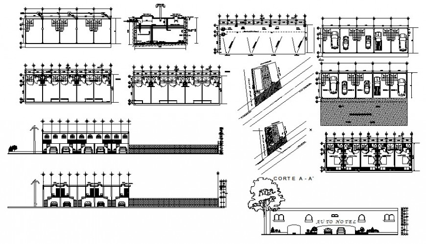 Hotel building elevation and sectional drawing autocad file