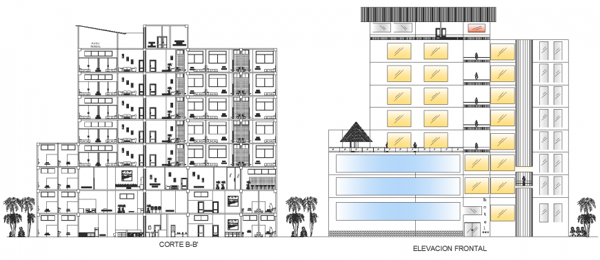 Hotel building elevation drawing in dwg AutoCAD file.