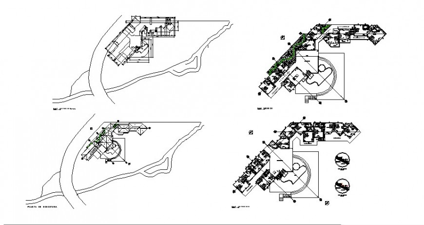 Hotel building floor plan and landscaping structure details dwg file