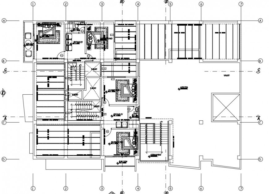 Hotel building floor plan drawings 2d view details in autocad file