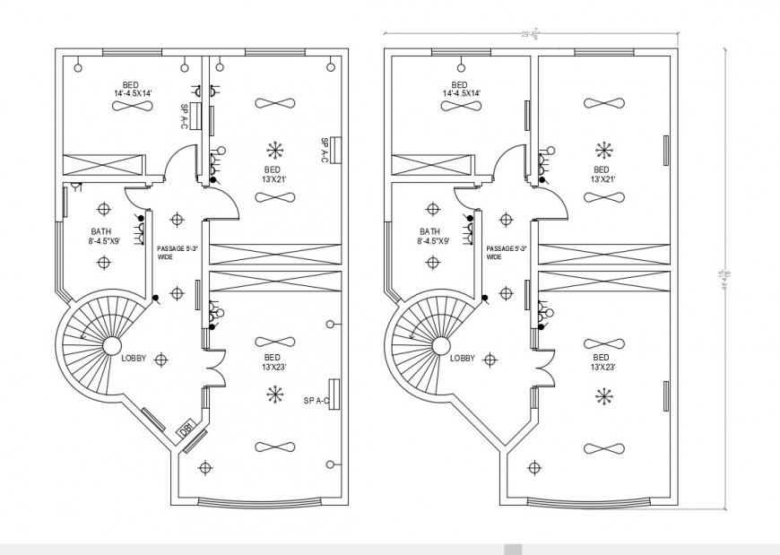 Hotel building floor plan drawings 2d view dwg file