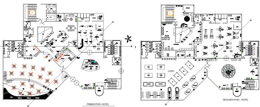 Hotel building layout plan drawing in dwg AutoCAD file.