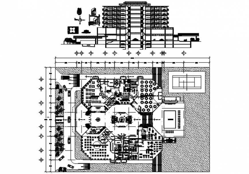 Hotel building main elevation and section, floor plan and structure details dwg file