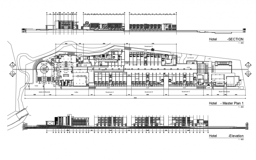 Hotel building master plan, elevation and section autocad file