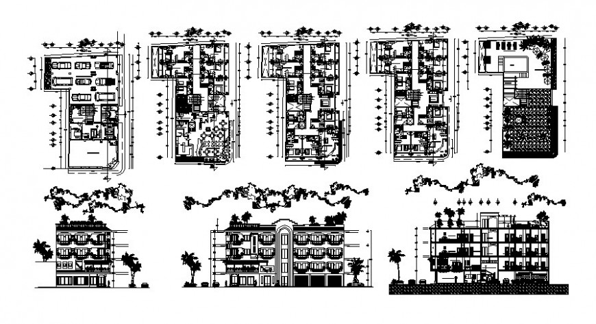 Hotel building plan elevation and section autocad file