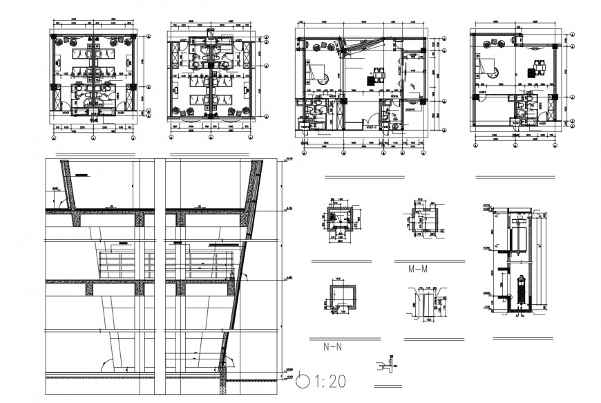Hotel building section, floor plan and auto-cad drawing details dwg file