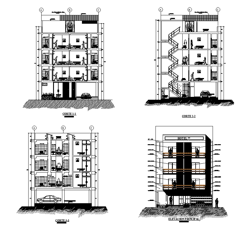 Hotel building sectional layout 2d view dwg file
