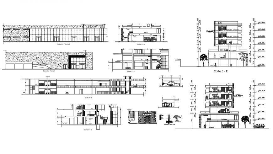 Hotel building sections, elevation and auto-cad drawing details dwg file