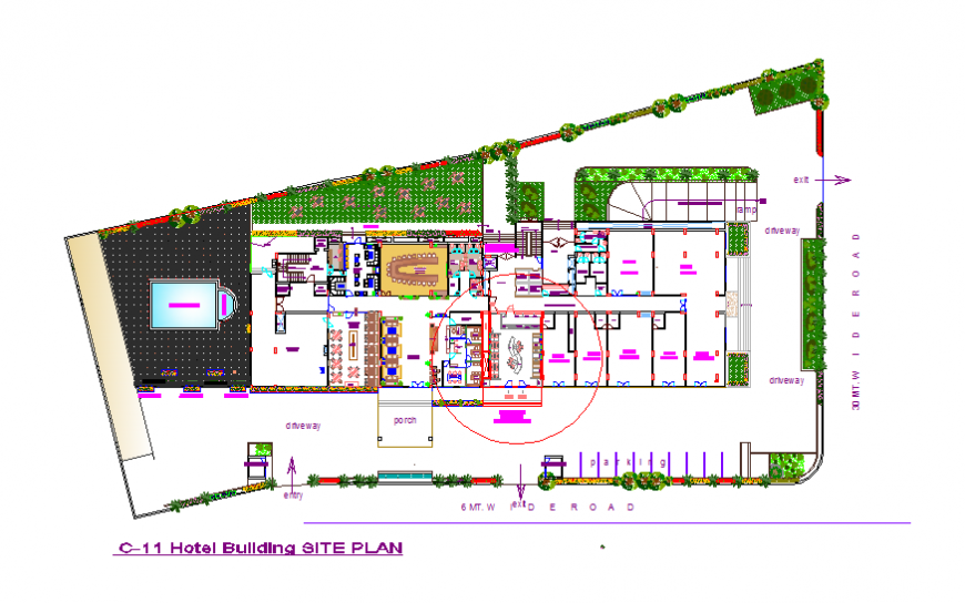 Hotel building site plan and landscaping structure details dwg file