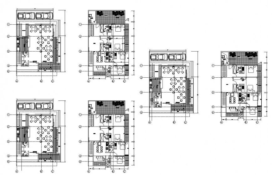Hotel building structure 2d view CAD structural block layout file in autocad format