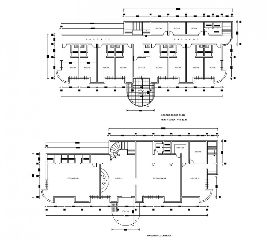 Hotel building structure detail 2d view layout plan CAD block autocad file