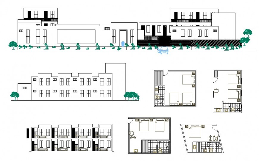 Hotel building structure detail elevation and plan 2d view CAD block layout dwg file