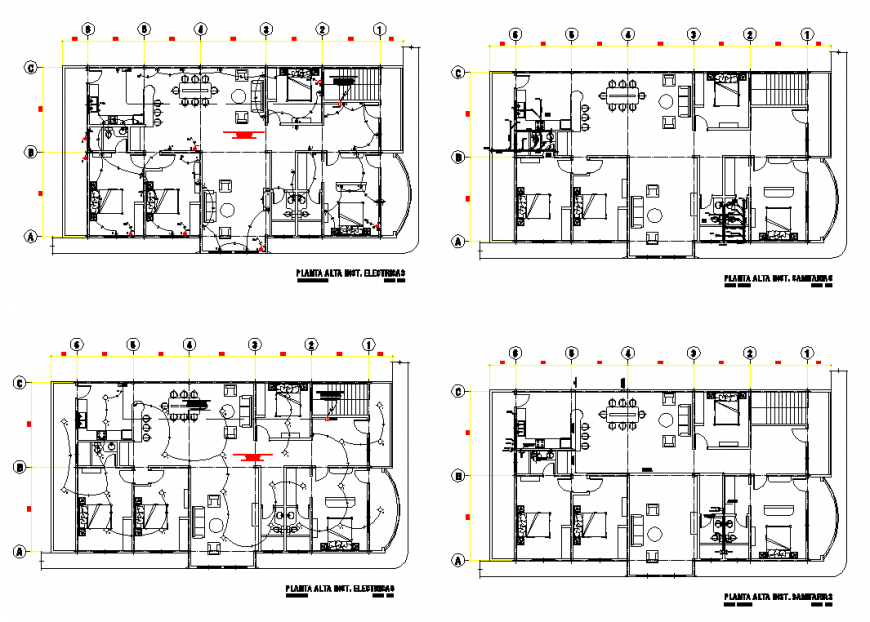 Hotel building structure detail elevation and plan view autocad file