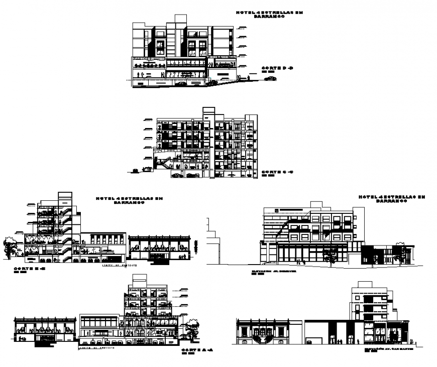 Hotel building structure detail elevation and section 2d view layout dwg file