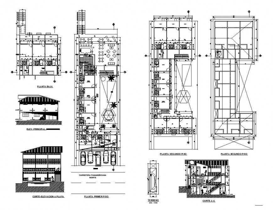 Hotel building structure detail plan, elevation and section 2d view layout dwg file