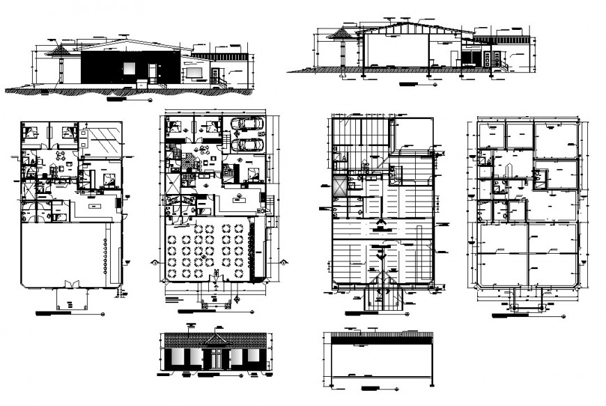 Hotel building structure detail plan and elevation 2d view CAD structural block autocad file