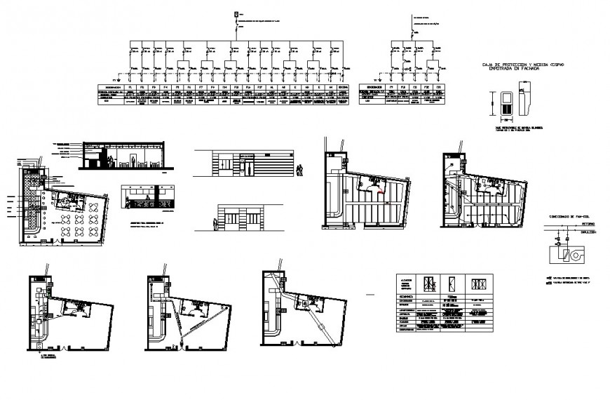 Hotel building structure detail plan and section 2d view layout CAD construction autocad file