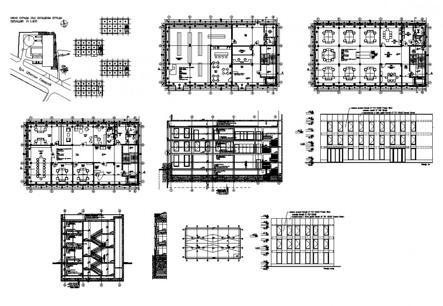 Hotel building structure plan and sectional detail 2d view CAD block layout dwg file