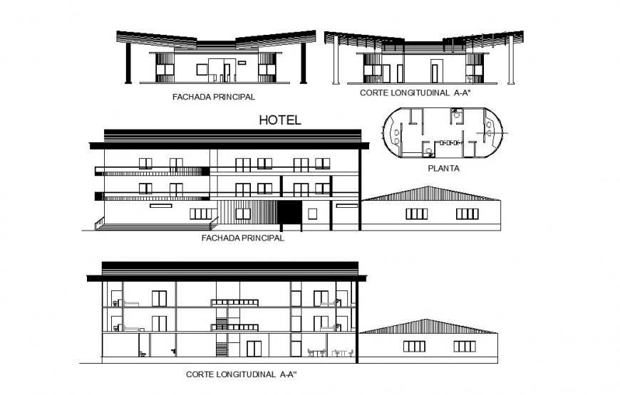 Hotel building three story all sided elevation and section cad drawing details dwg file