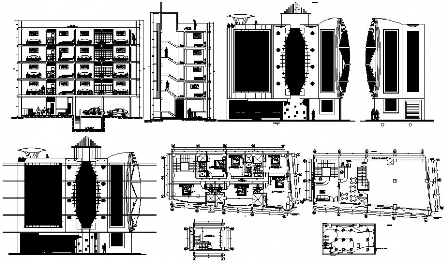 Hotel building unit plan and elevation autocad software file