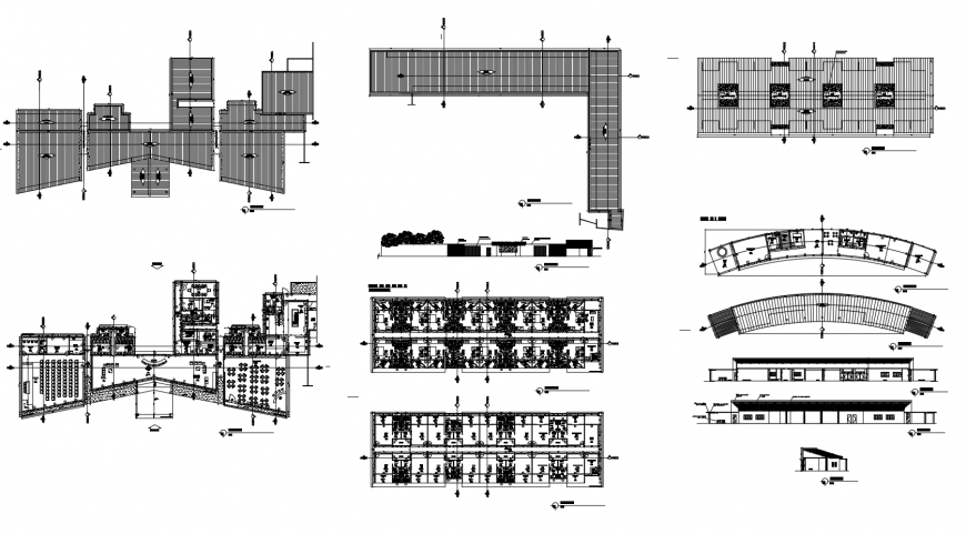 Hotel building with spa and salon floor plan distribution and auto-cad drawing details dwg file