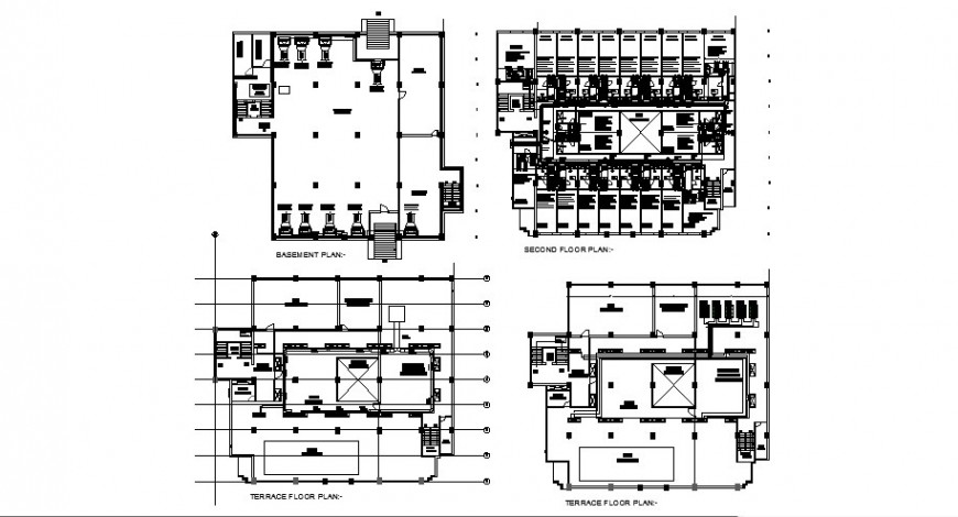 Hotel building working plan 2d drawing in autocad file