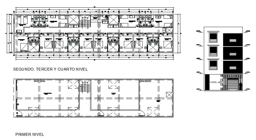 Hotel building working plan and elevation 2d view autocad file