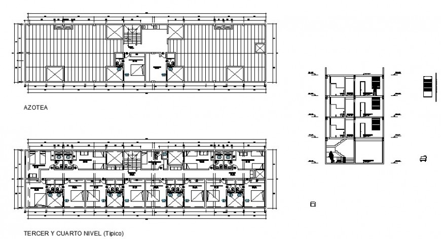 Hotel building working plan and sectional detail in autocad format