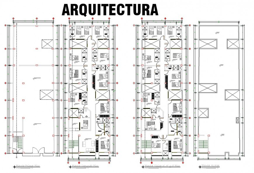 Hotel construction plan in dwg AutoCAD file.
