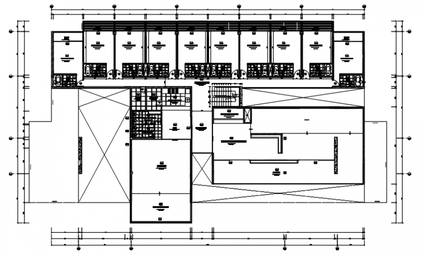 Hotel dwelling plan in auto cad
