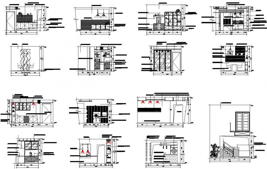 Hotel elevation and section plan detail dwg file