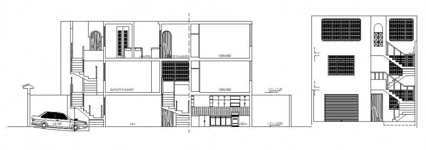 Hotel elevation and side view in AutoCAD file