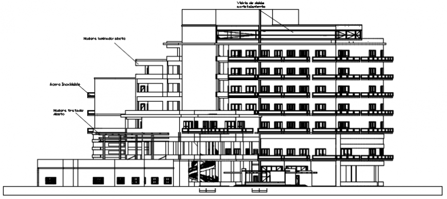 Hotel elevation Dwg cad file