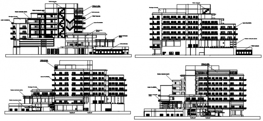 Hotel elevation in different axis  in AutoCAD file