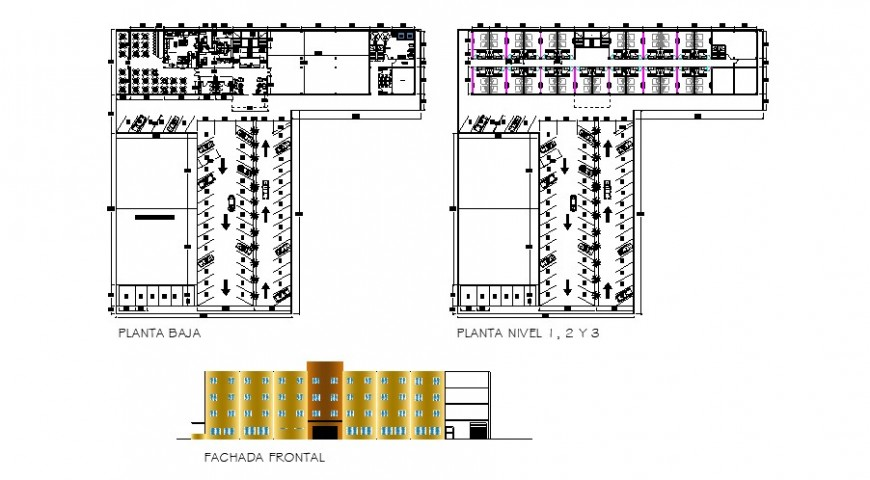 Hotel floor plan and elevation in auto cad file