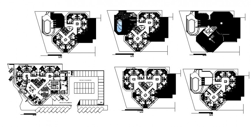 Hotel floor plan drawing in dwg file.