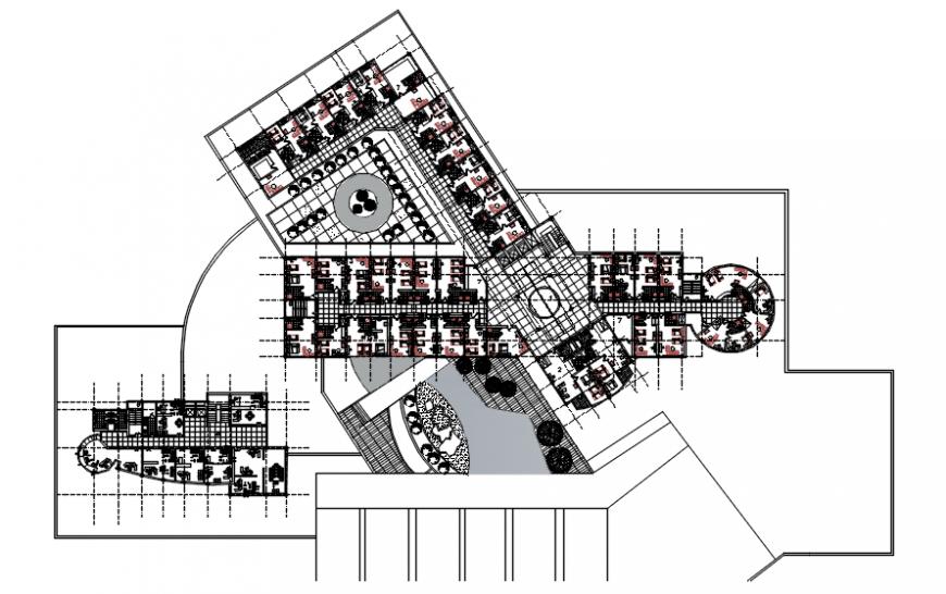 Hotel floor plan in auto cad