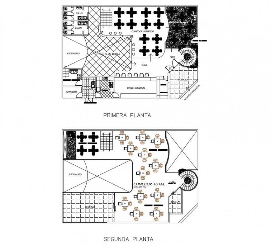 Hotel floor plan of in auto cad
