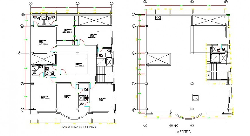 Hotel floors plan and sanitary installation cad drawing details dwg file