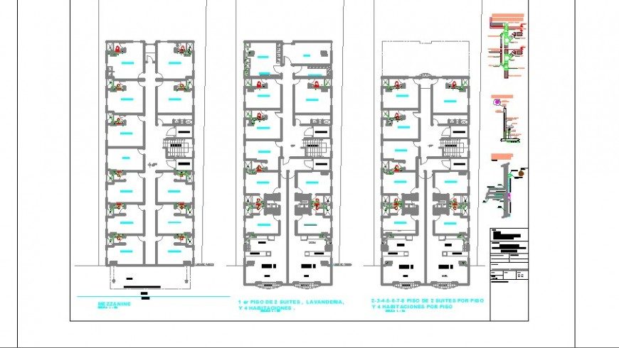 Hotel floors sanitary installation with plan cad drawing details dwg file