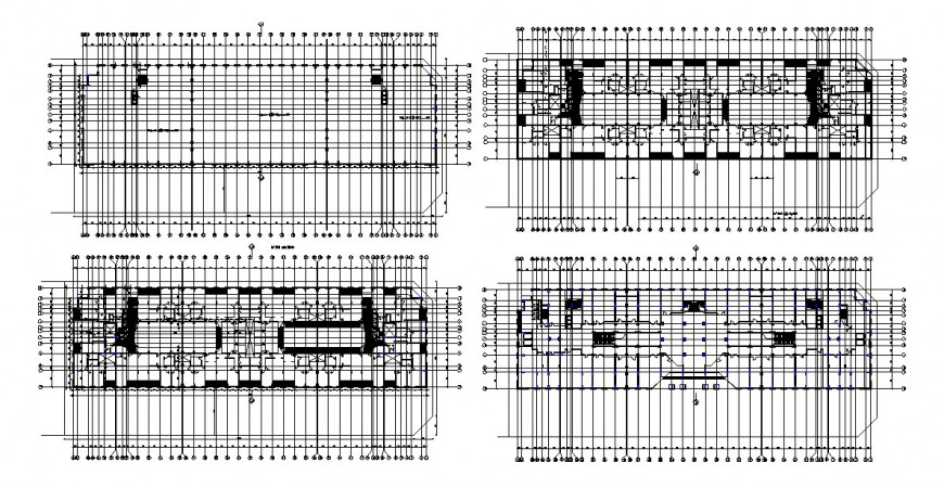 Hotel four floors framing plan structure and staircase cad drawing details dwg file
