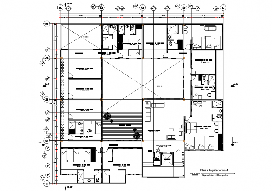 Hotel fourth floor layout plan detail drawing in dwg AutoCAD file.