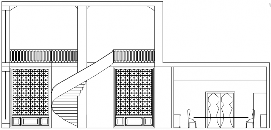 Hotel front view in AutoCAD file