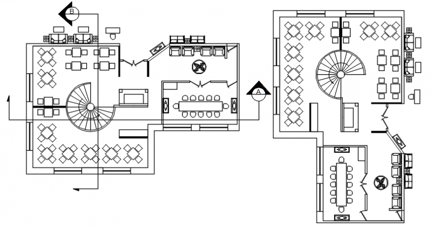 Hotel general architecture plan in AutoCAD file