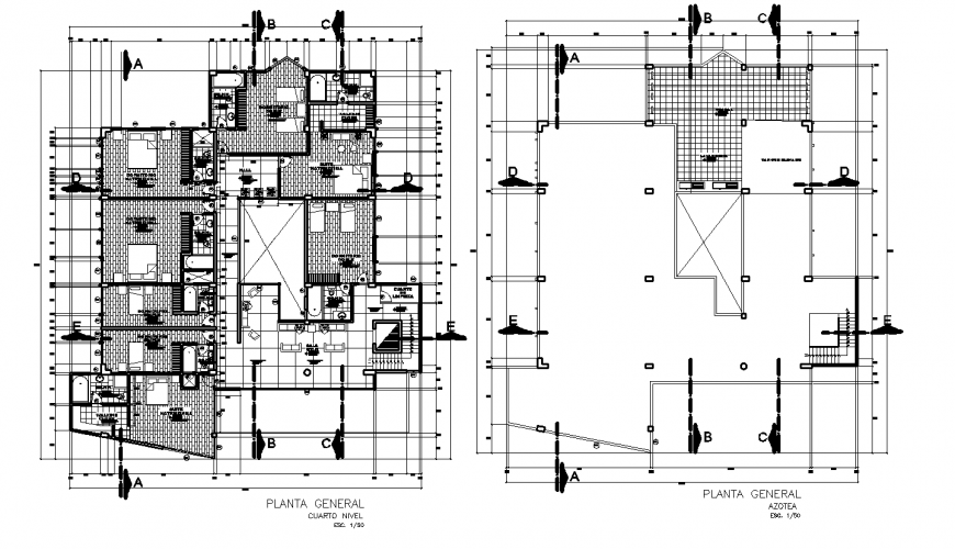 Hotel general layout plan detail drawing in dwg AutoCAD file.