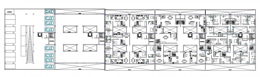 Hotel ground floor layout plan in dwg AutoCAD file.