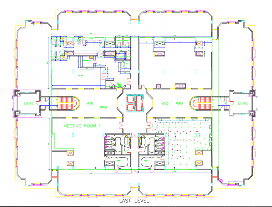 Hotel last level layout plan drawing in dwg AutoCAD file.