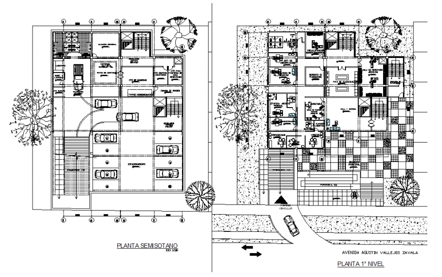 Hotel layout plan and car parking layout plan dwg file