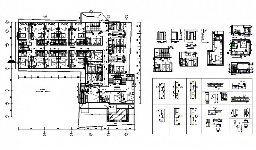 Hotel layout plan detail drawing in AutoCAD file.