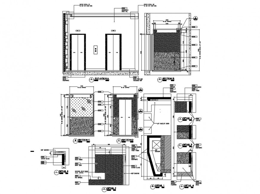 Hotel lift car elevation, section, plan and auto-cad details dwg file